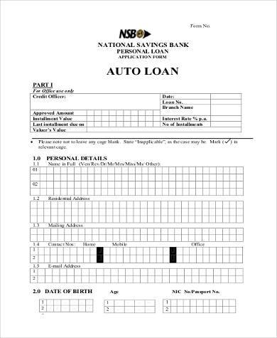 free auto loan agreement form