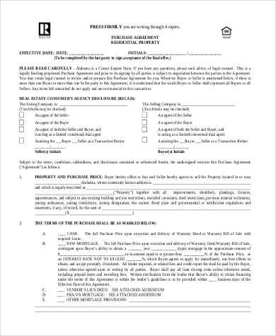 free basic purchase agreement form