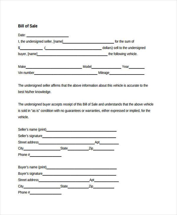 free bill of sale contract form