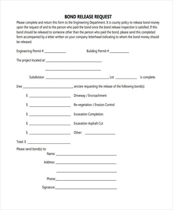 free bond release request form