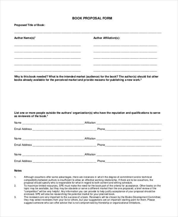 free book proposal form sample