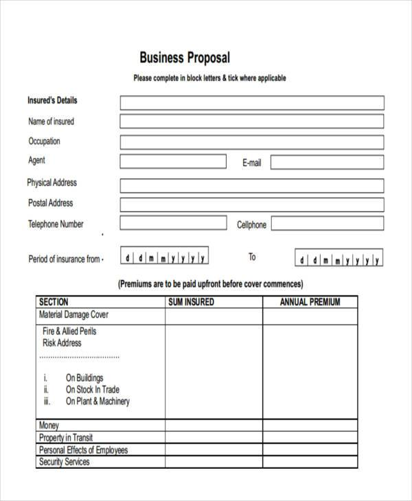 free business proposal form