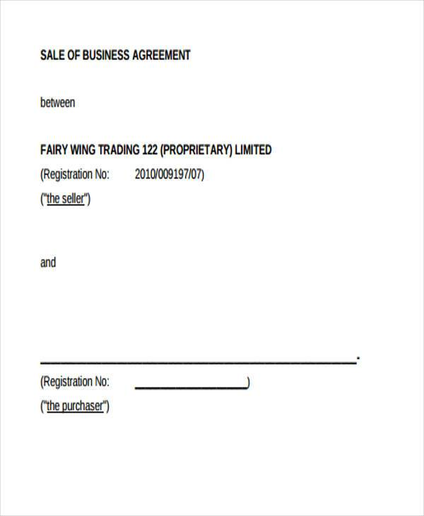 free business sale contract form
