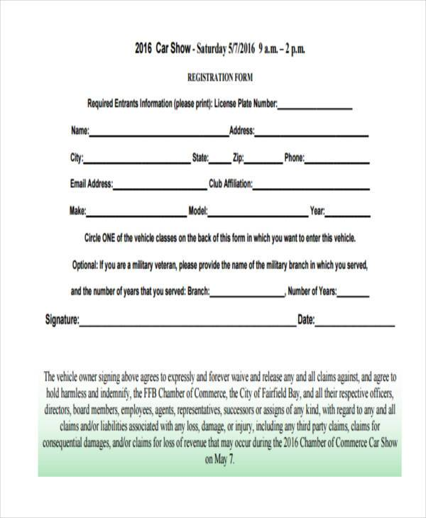 free car show registration form sample