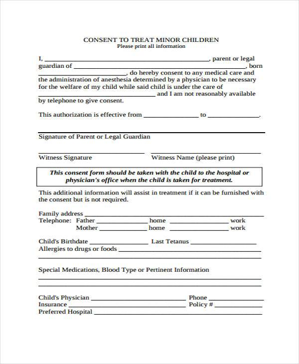Delicieux Free Child Medical Consent Form