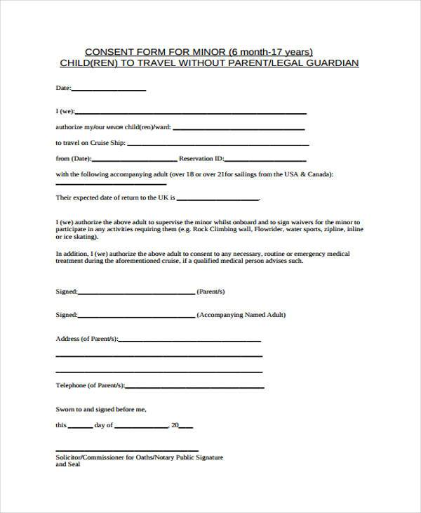 Free consent form samples for Free child travel consent form template