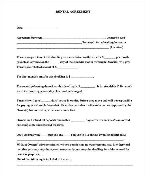 free commercial rental agreement form