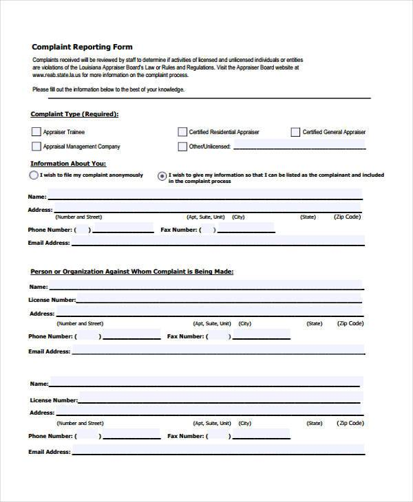 free complaint reporting form