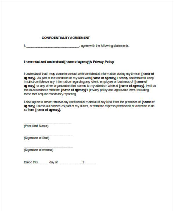 8 Confidentiality Agreement Form Samples Free Sample Example – Confidentiality Agreement Form