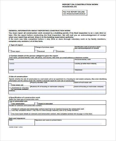 free construction report form