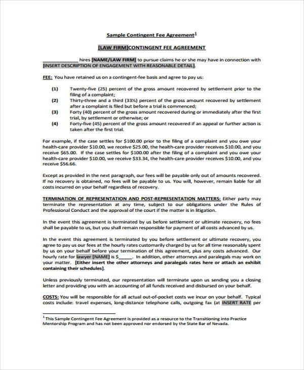 free contingency fee agreement form