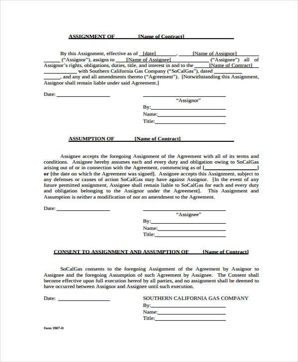 7 Contract Assignment Form Samples Free Sample Example Format – Assignment of Contract