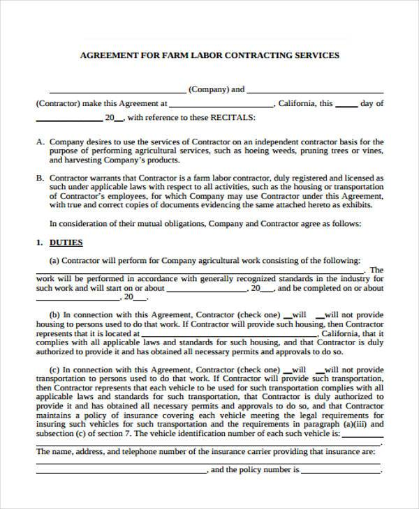 free contract labor agreement form1