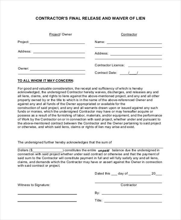 free contractor lien release form