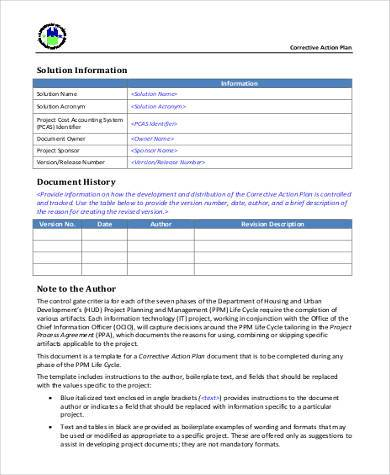 Free Corrective Action Plan Form
