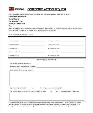 free corrective action request form