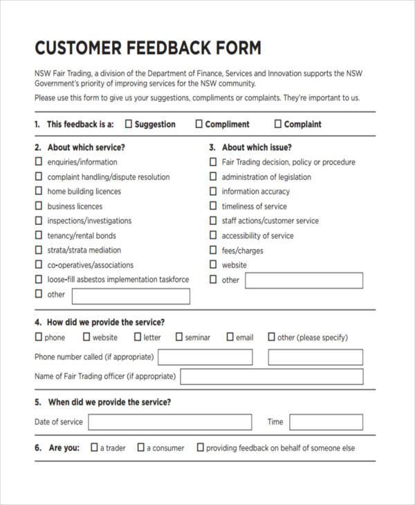 free customer feedback form