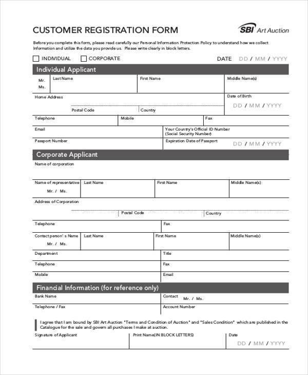 Registration Form Templates – New Customer Registration Form Template