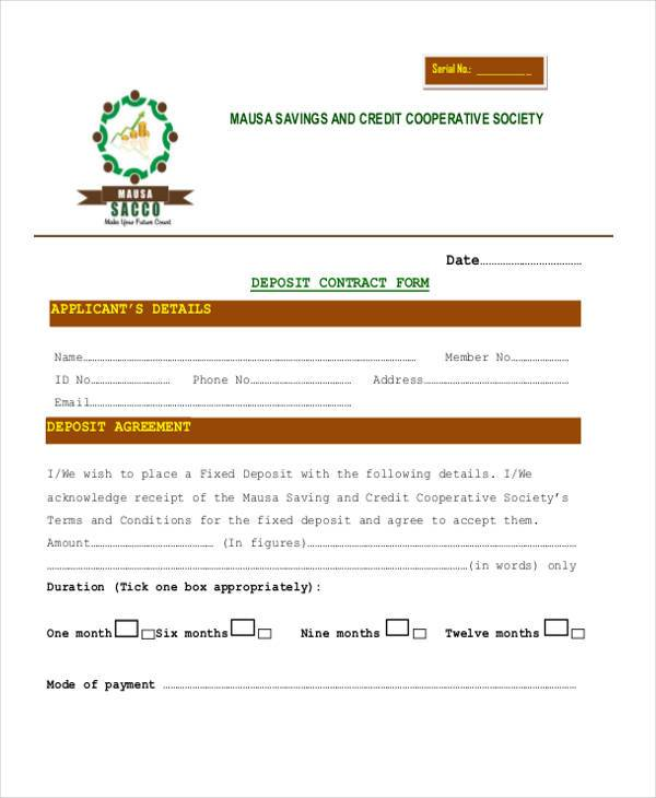 free deposit contract form