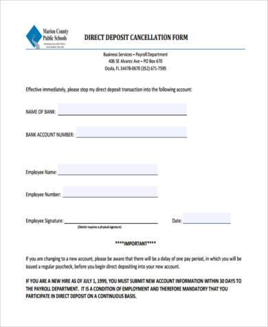 free direct deposit cancellation form