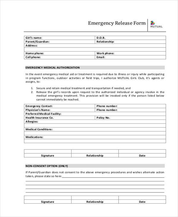 free emergency release form