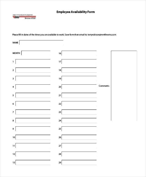 free employee availability form