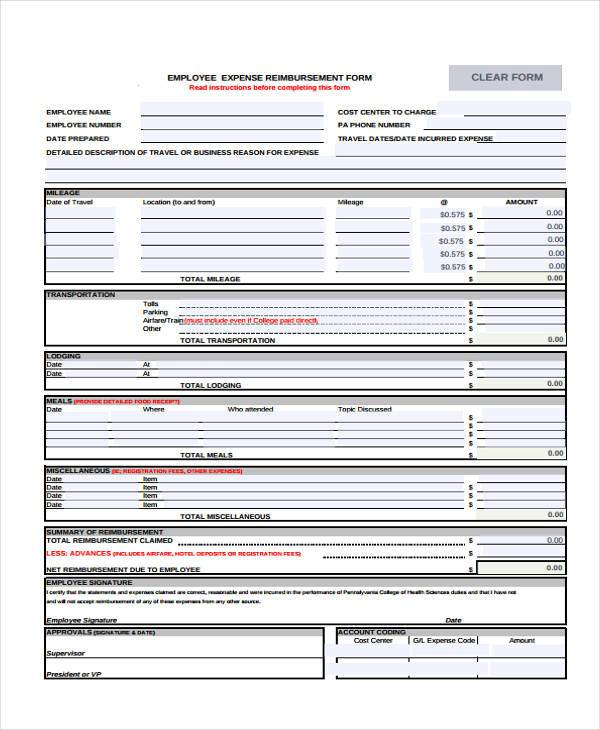 free 7  sample employee expense reimbursement forms in pdf