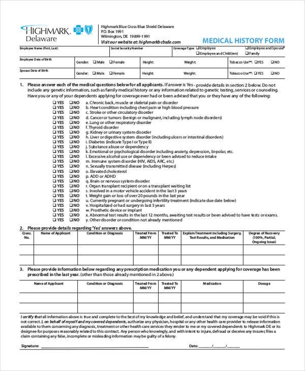 Sample Employee Medical History Forms 7 Free Documents in Word PDF – Sample Medical History Form