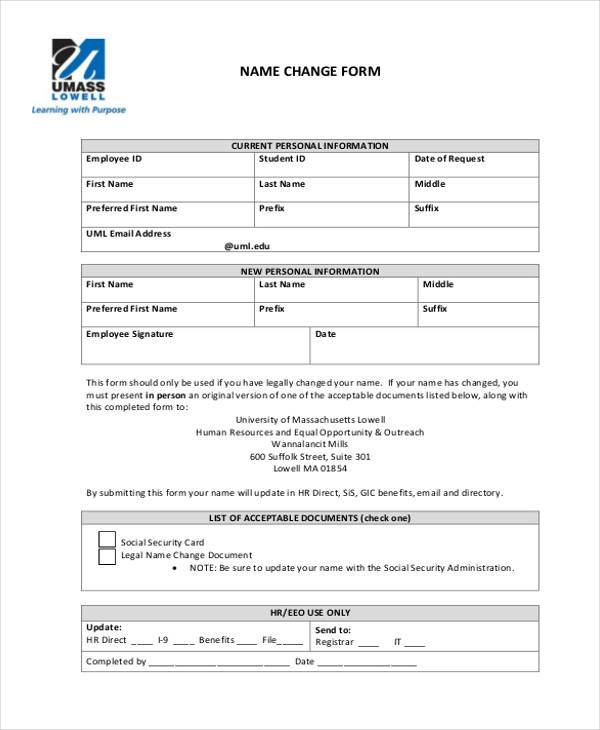 free employee name change form