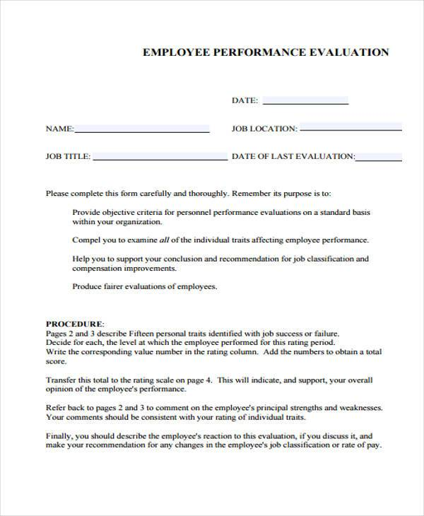 9 Employee Performance Evaluation Form Samples Free Sample – Employee Performance Evaluation Form Free Download