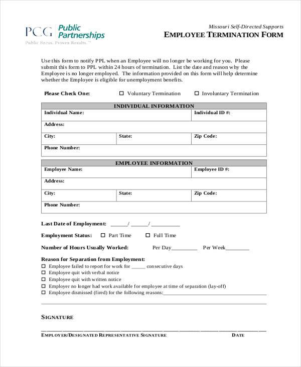 Employee Notice Form 8 Employee Termination Form Samples Free – Sample Employee Evaluation Forms