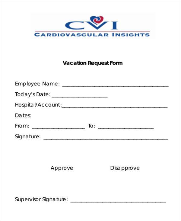Sample Employee Vacation Request Forms 7 Free Documents in Word – Vacation Request Form