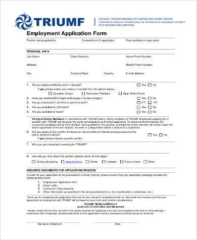 free employment application form pdf1