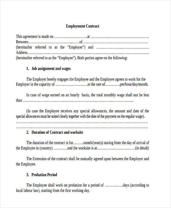 Free Employment Contract Form  Free Employment Contract Form