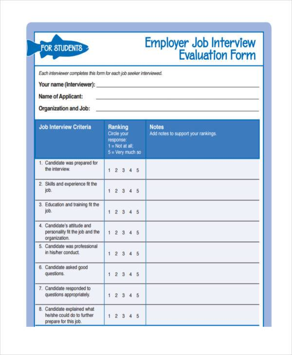 free employment interview evaluation form
