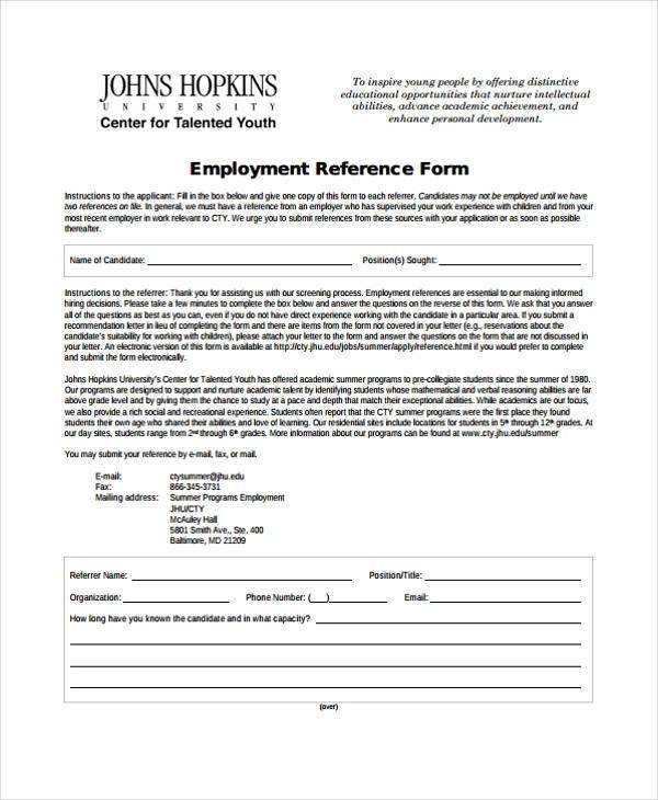 free employment reference form
