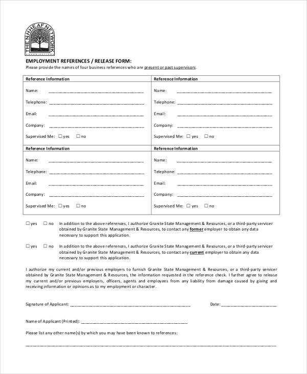 free 9  sample employment release forms