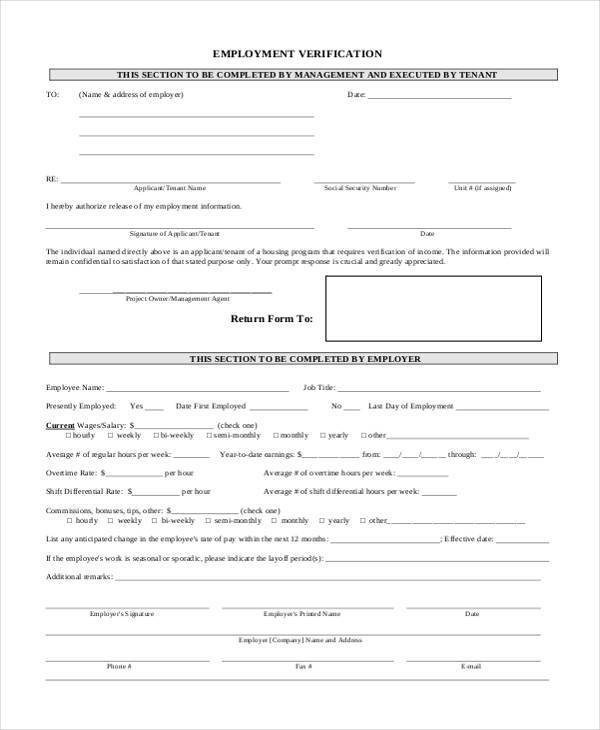 Free Employment Verification Form