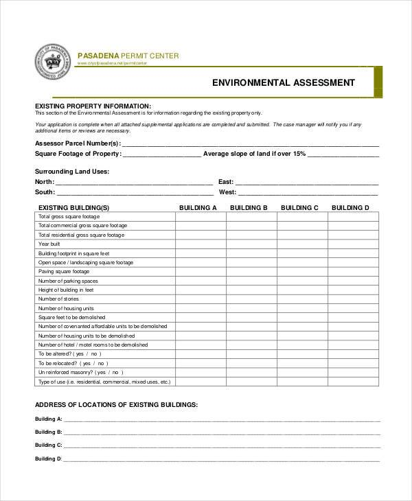 Environmental Assessment Form Samples  Free Sample Example