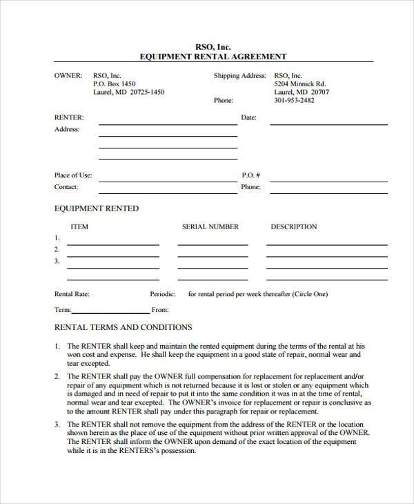 free equipment rental contract form