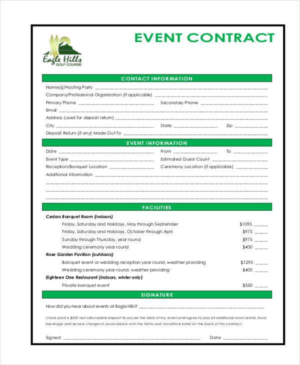 Event Contract Form Samples  Free Sample Example Format Download
