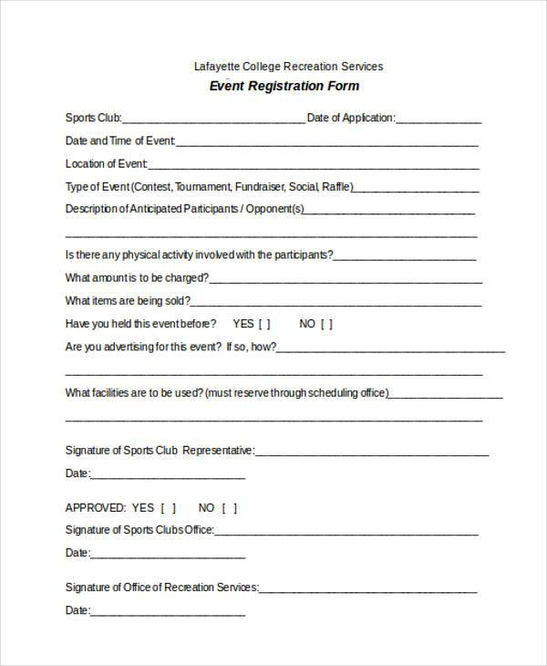 Registration form templates for Event booking form template word