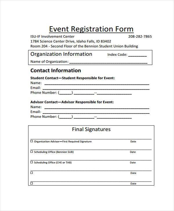 free event registration form