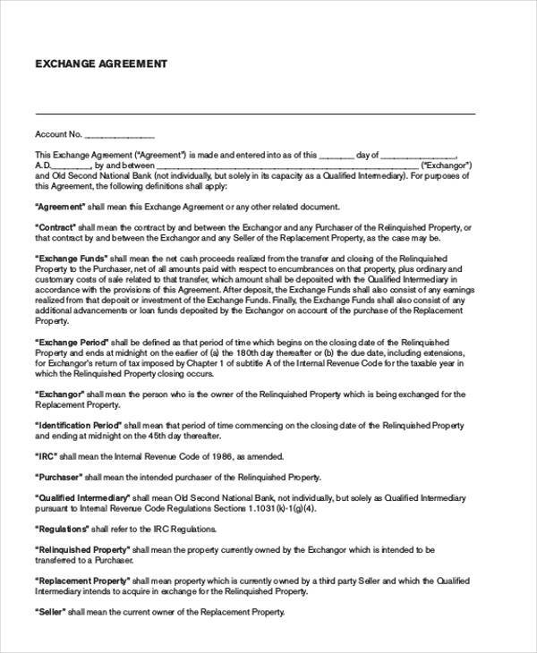 free exchange agreement form