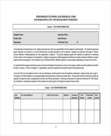 free executive performance appraisal form