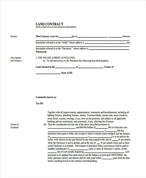 free fillable land contract form