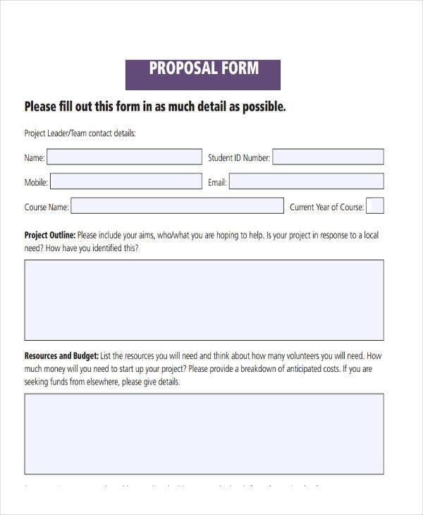 Beautiful Free Fillable Proposal Form Regard To Free Proposal Forms