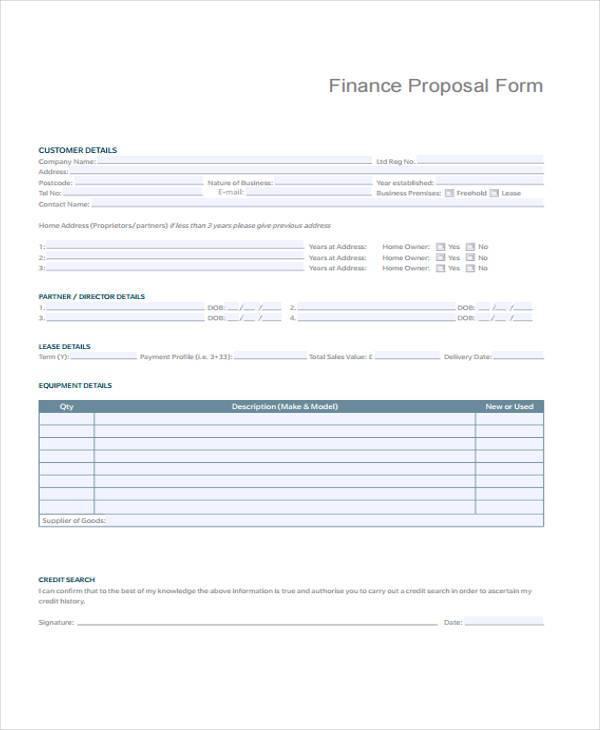 free finance proposal form
