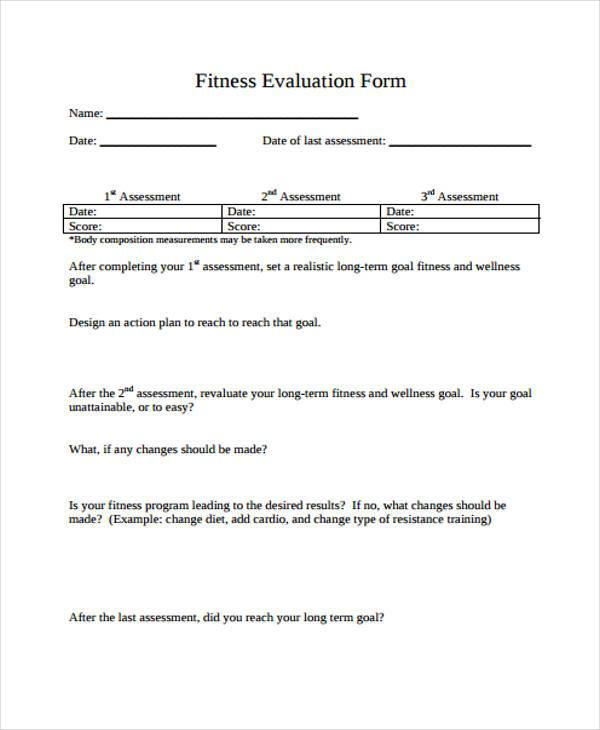 Sample Fitness Evaluation Forms   Free Documents In Word Pdf