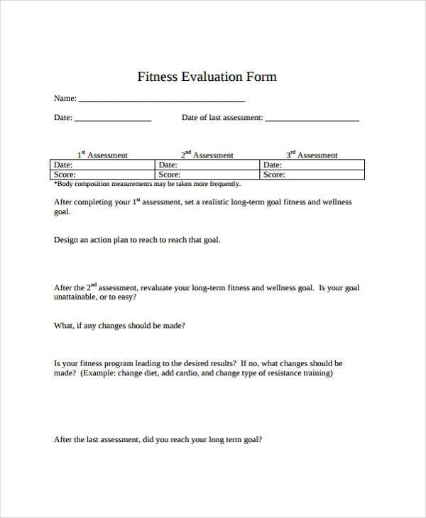 free fitness evaluation form1